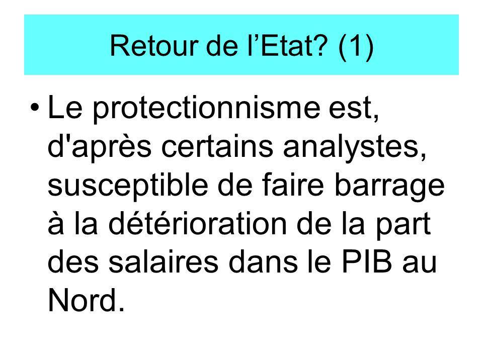 Retour de lEtat? (1) Le protectionnisme est, d'après certains analystes, susceptible de faire barrage à la détérioration de la part des salaires dans