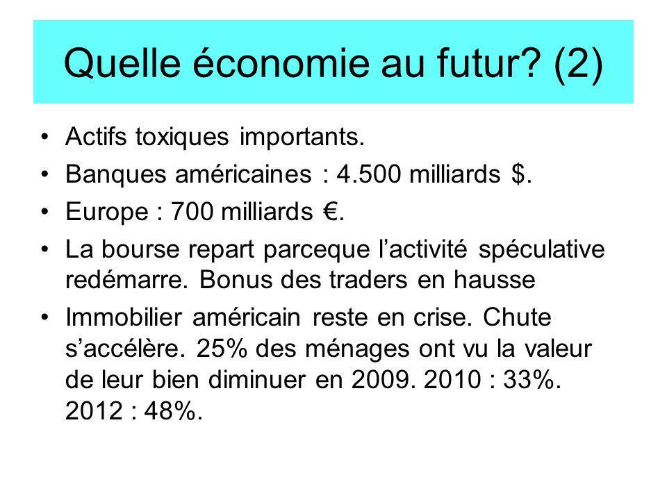 Quelle économie au futur? (2) Actifs toxiques importants. Banques américaines : 4.500 milliards $. Europe : 700 milliards. La bourse repart parceque l