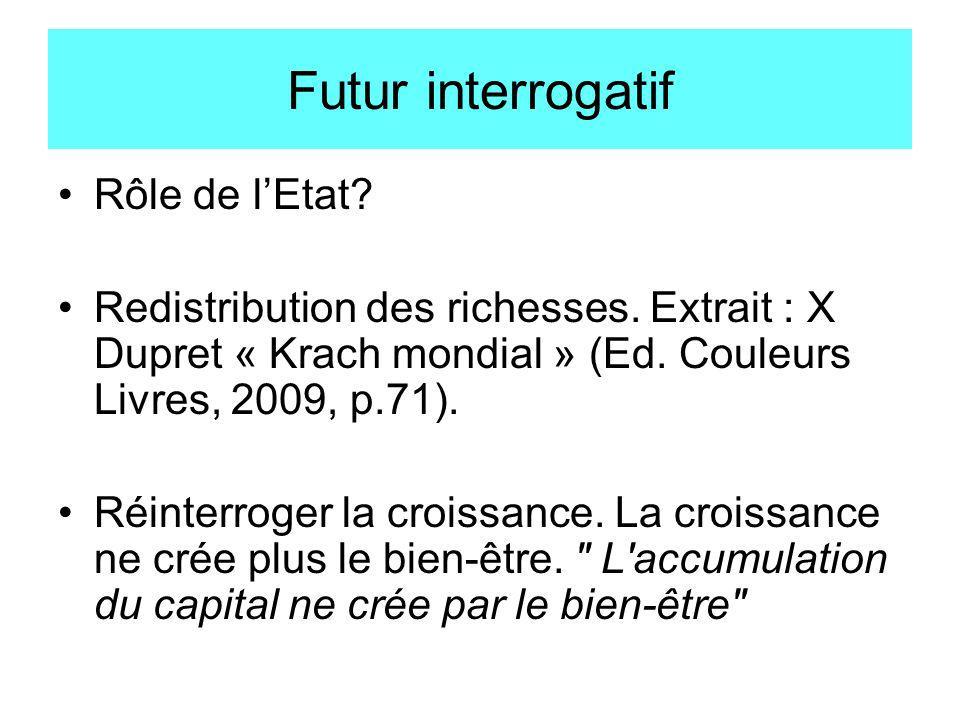 Futur interrogatif Rôle de lEtat? Redistribution des richesses. Extrait : X Dupret « Krach mondial » (Ed. Couleurs Livres, 2009, p.71). Réinterroger l