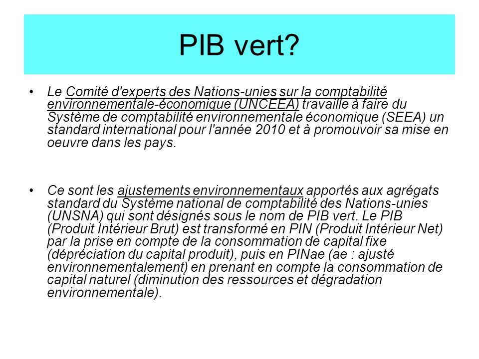 PIB vert? Le Comité d'experts des Nations-unies sur la comptabilité environnementale-économique (UNCEEA) travaille à faire du Système de comptabilité