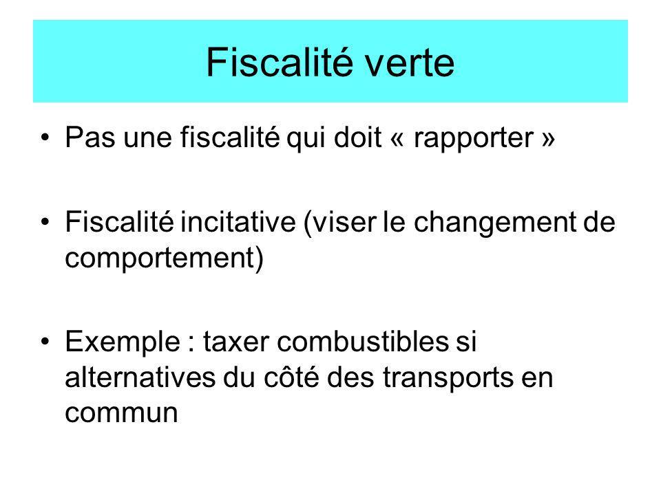 Fiscalité verte Pas une fiscalité qui doit « rapporter » Fiscalité incitative (viser le changement de comportement) Exemple : taxer combustibles si al