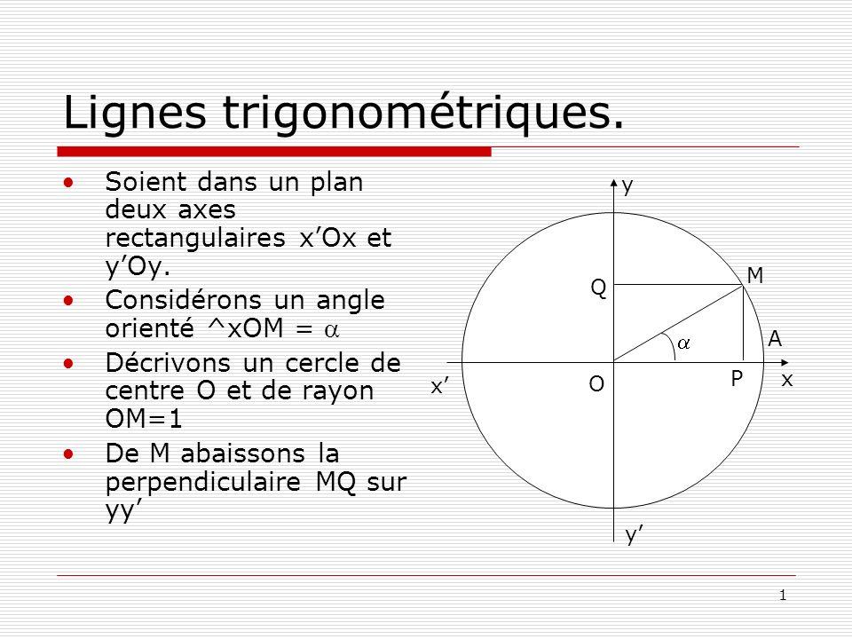1 Lignes trigonométriques. Soient dans un plan deux axes rectangulaires xOx et yOy. Considérons un angle orienté ^xOM = Décrivons un cercle de centre
