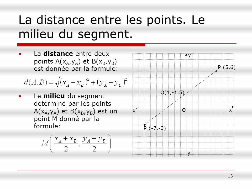 13 La distance entre les points. Le milieu du segment. La distance entre deux points A(x A,y A ) et B(x B,y B ) est donnée par la formule: Le milieu d