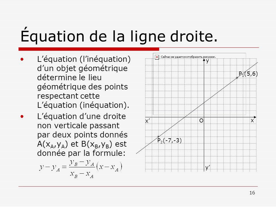 16 Équation de la ligne droite. Léquation (linéquation) dun objet géométrique détermine le lieu géométrique des points respectant cette Léquation (iné