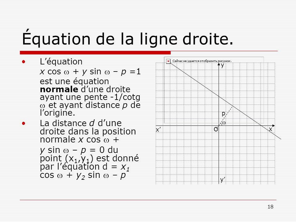 18 Équation de la ligne droite. Léquation x cos + y sin – p =1 est une équation normale dune droite ayant une pente -1/cotg et ayant distance p de lor