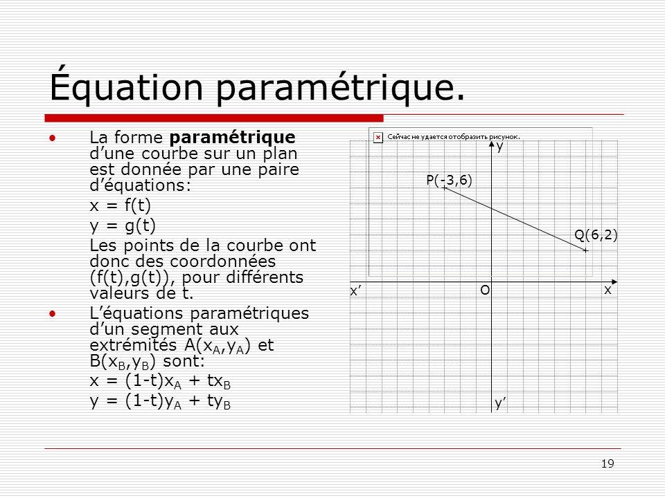 19 Équation paramétrique. La forme paramétrique dune courbe sur un plan est donnée par une paire déquations: x = f(t) y = g(t) Les points de la courbe
