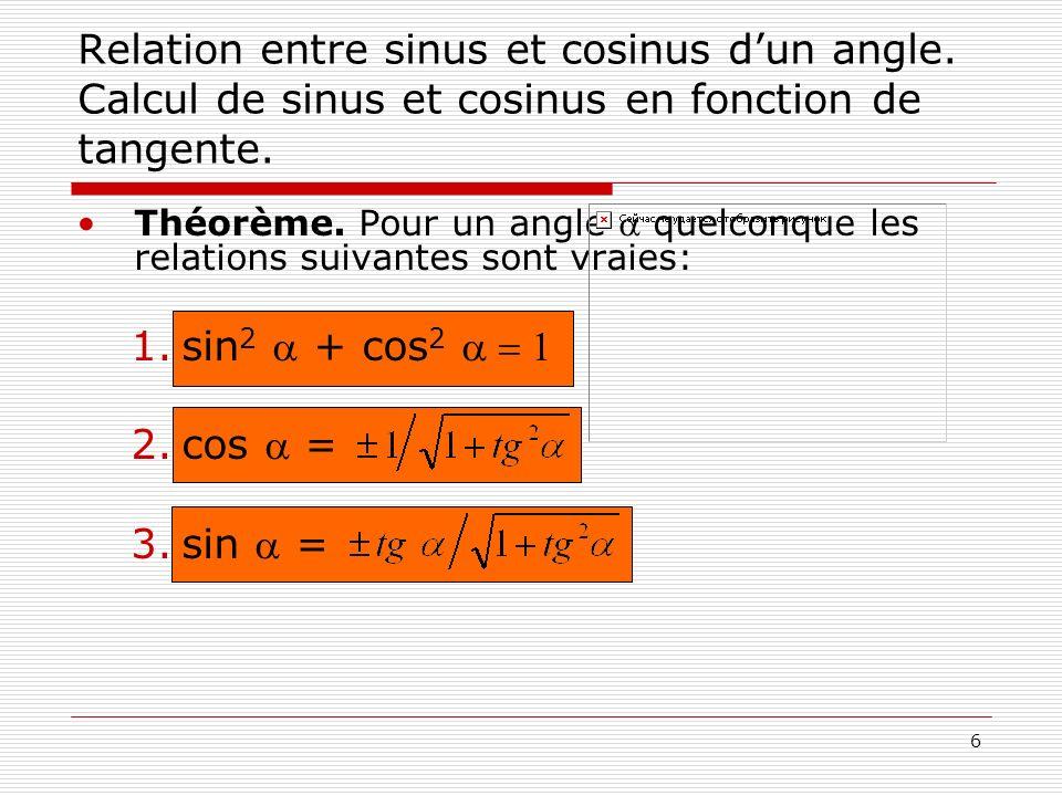 6 Relation entre sinus et cosinus dun angle. Calcul de sinus et cosinus en fonction de tangente. Théorème. Pour un angle quelconque les relations suiv