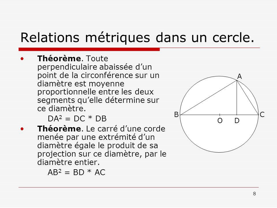 8 Relations métriques dans un cercle. Théorème. Toute perpendiculaire abaissée dun point de la circonférence sur un diamètre est moyenne proportionnel
