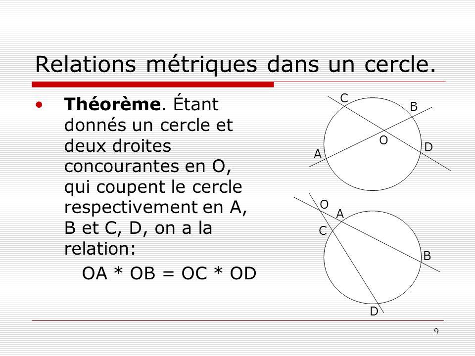 9 Relations métriques dans un cercle. Théorème. Étant donnés un cercle et deux droites concourantes en O, qui coupent le cercle respectivement en A, B
