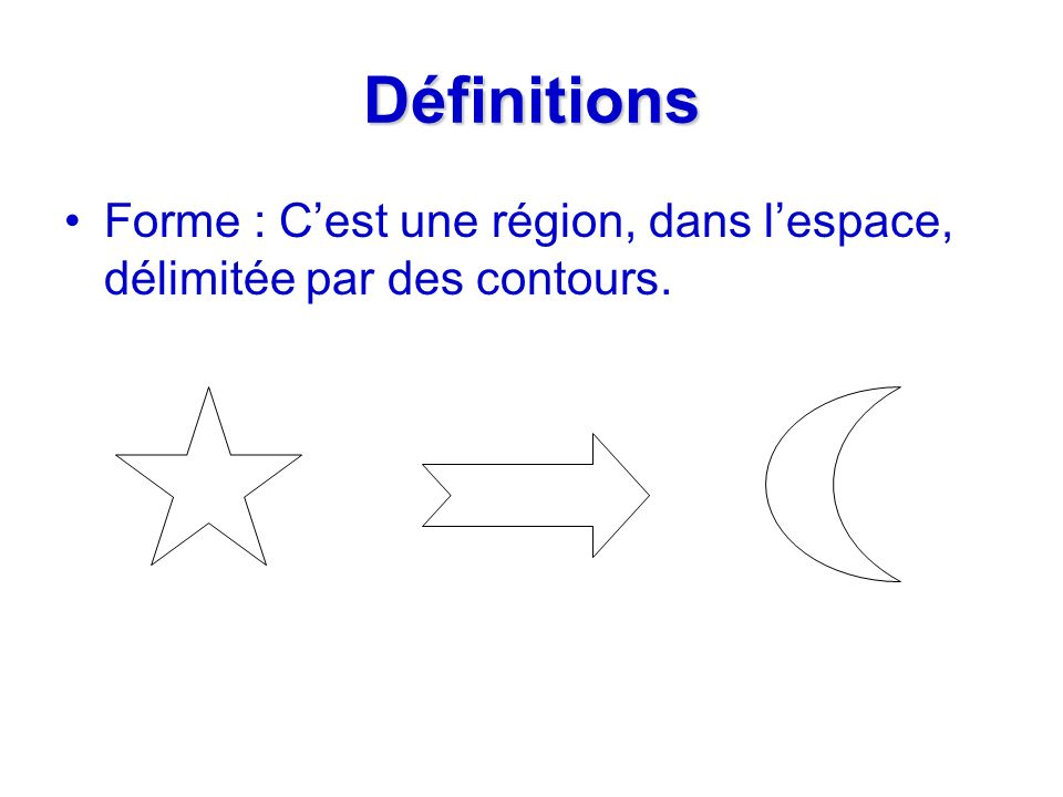 Définitions Forme : Cest une région, dans lespace, délimitée par des contours.