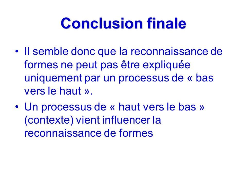 Conclusion finale Il semble donc que la reconnaissance de formes ne peut pas être expliquée uniquement par un processus de « bas vers le haut ». Un pr