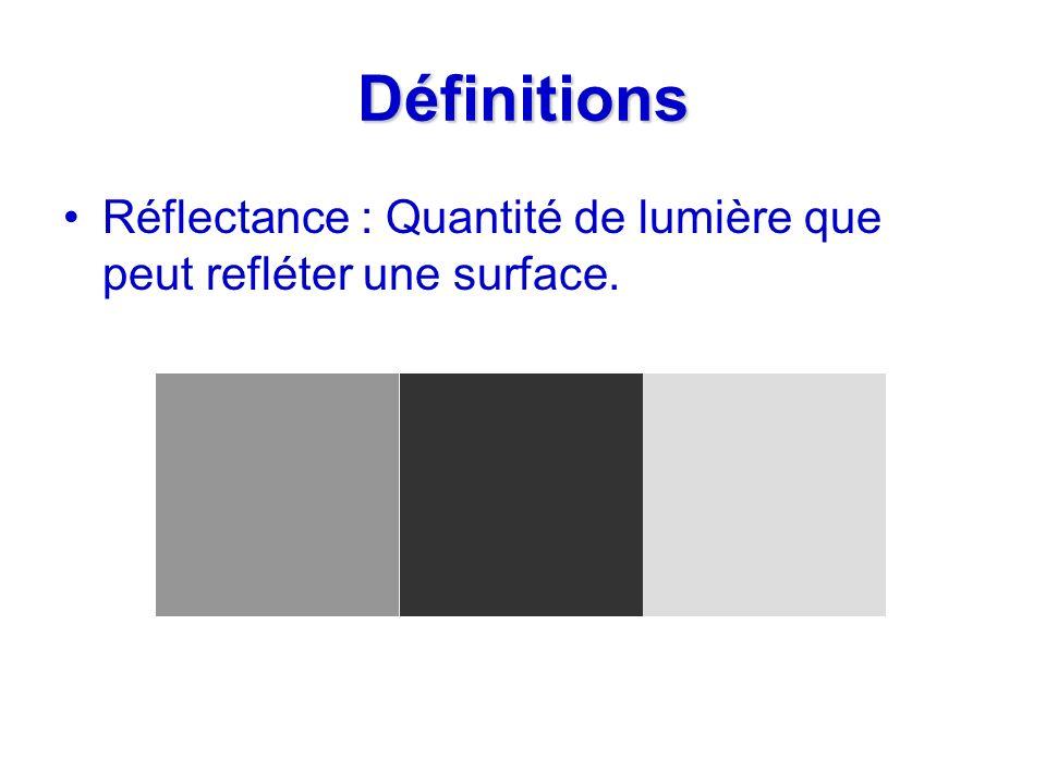 Définitions Réflectance : Quantité de lumière que peut refléter une surface.