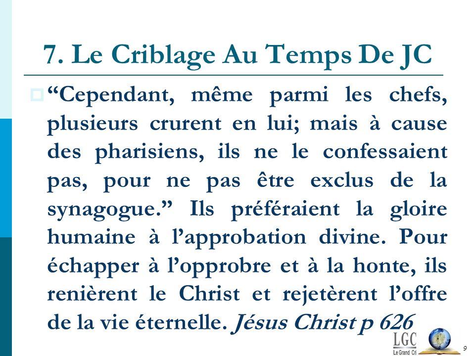 7. Le Criblage Au Temps De JC Cependant, même parmi les chefs, plusieurs crurent en lui; mais à cause des pharisiens, ils ne le confessaient pas, pour