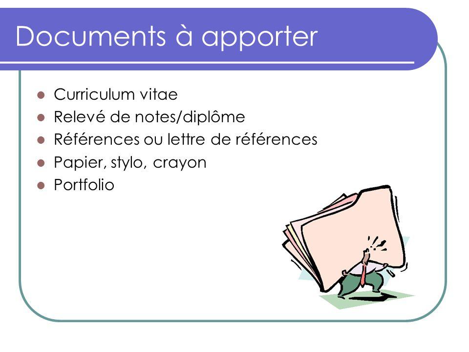 Documents à apporter Curriculum vitae Relevé de notes/diplôme Références ou lettre de références Papier, stylo, crayon Portfolio