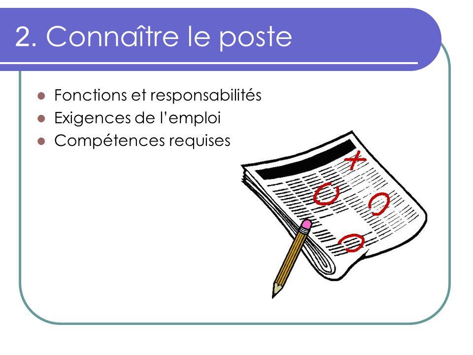 2. Connaître le poste Fonctions et responsabilités Exigences de lemploi Compétences requises