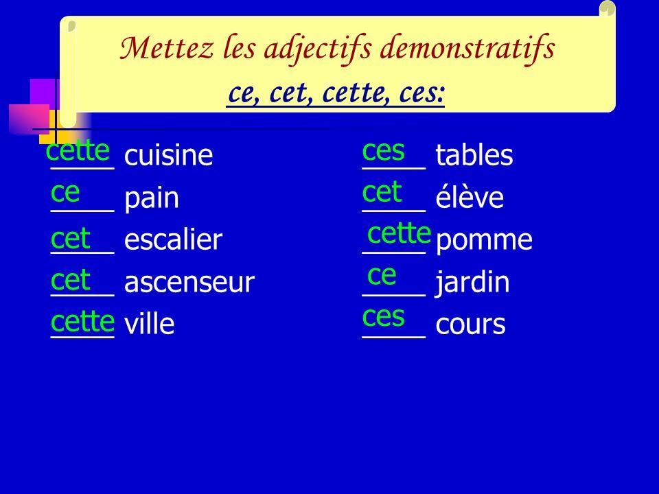 II Les adjectifs demonstratif