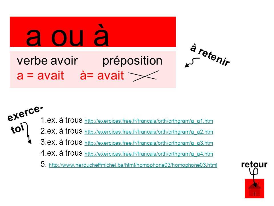 a ou à verbe avoir préposition a = avait à= avait 1.ex.