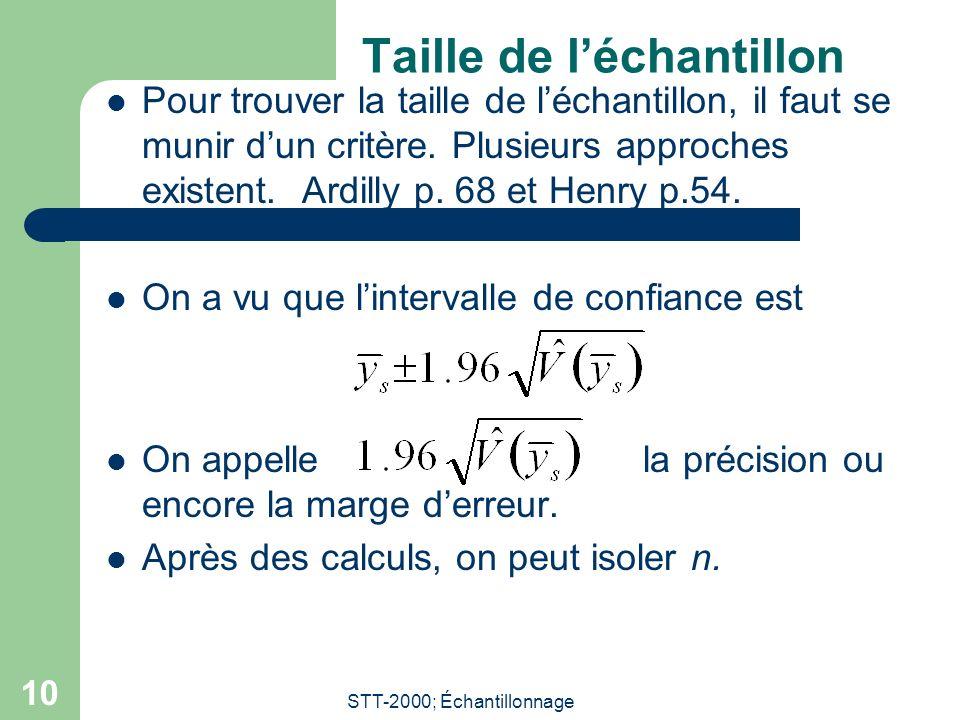 STT-2000; Échantillonnage 10 Taille de léchantillon Pour trouver la taille de léchantillon, il faut se munir dun critère.
