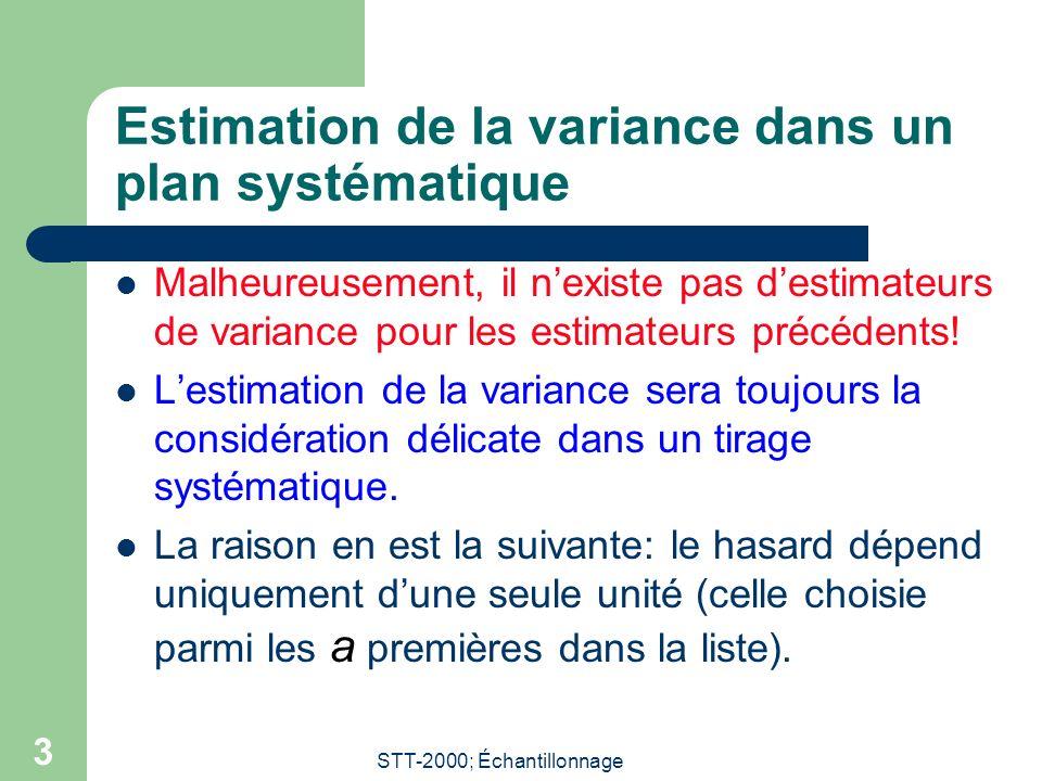 STT-2000; Échantillonnage 3 Estimation de la variance dans un plan systématique Malheureusement, il nexiste pas destimateurs de variance pour les estimateurs précédents.