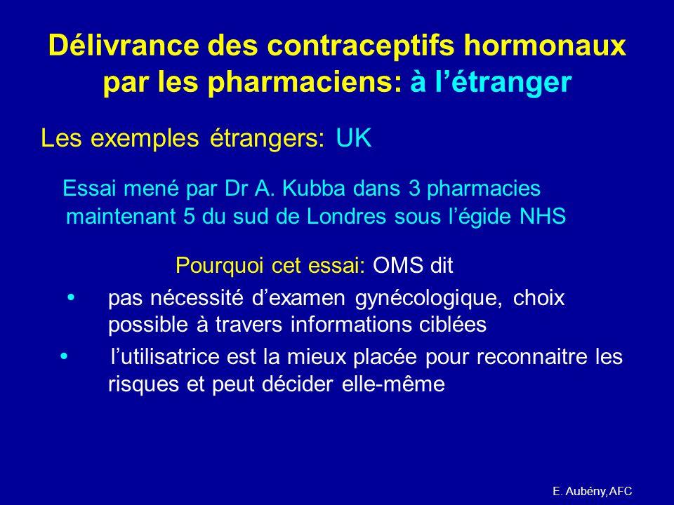 Délivrance des contraceptifs hormonaux par les pharmaciens: à létranger Les exemples étrangers: UK Essai mené par Dr A. Kubba dans 3 pharmacies mainte