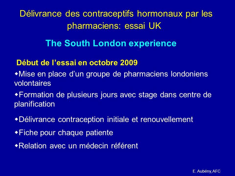 Délivrance des contraceptifs hormonaux par les pharmaciens: essai UK Début de lessai en octobre 2009 Mise en place dun groupe de pharmaciens londonien