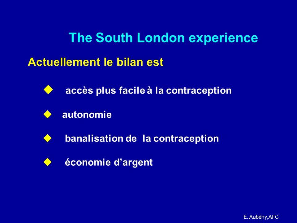 The South London experience Actuellement le bilan est accès plus facile à la contraception autonomie banalisation de la contraception économie dargent