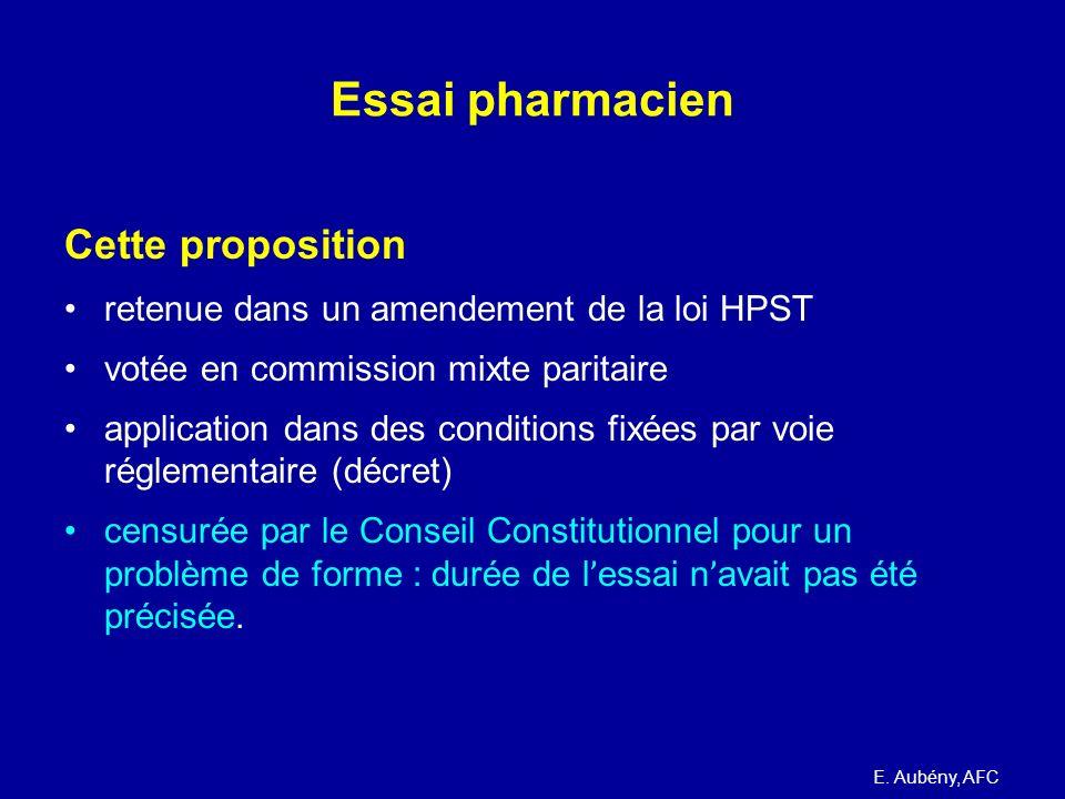 Essai pharmacien Cette proposition retenue dans un amendement de la loi HPST votée en commission mixte paritaire application dans des conditions fixée