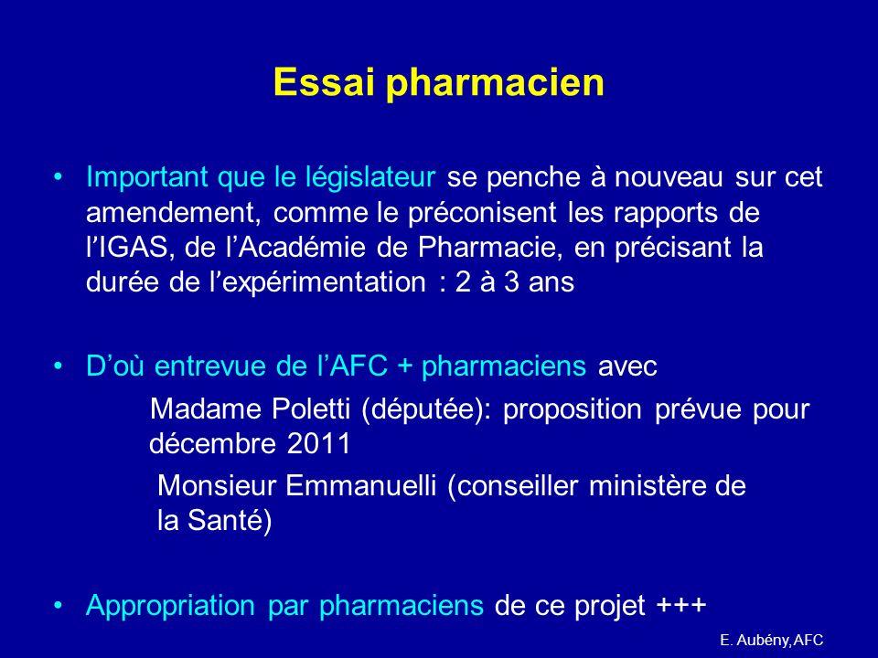 Essai pharmacien Important que le législateur se penche à nouveau sur cet amendement, comme le préconisent les rapports de l ' IGAS, de lAcadémie de P