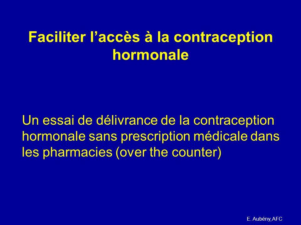 Essai pharmacien Proposition de loi Permettre à des pharmaciens volontaires et formés de dispenser pour 3 mois, sans renouvellement possible, en suivant une liste d ' éligibilité (check- list) validée par les Autorités de Santé une contraception hormonale (pilules, patchs, anneaux vaginaux...) sur liste établie par les Autorités de Santé aux femmes en bonne santé de 18 à 35 ans au cours d ' un entretien pharmaceutique rémunéré avec un renvoi organisé à un médecin ou une sage- femme en cas de problème E.
