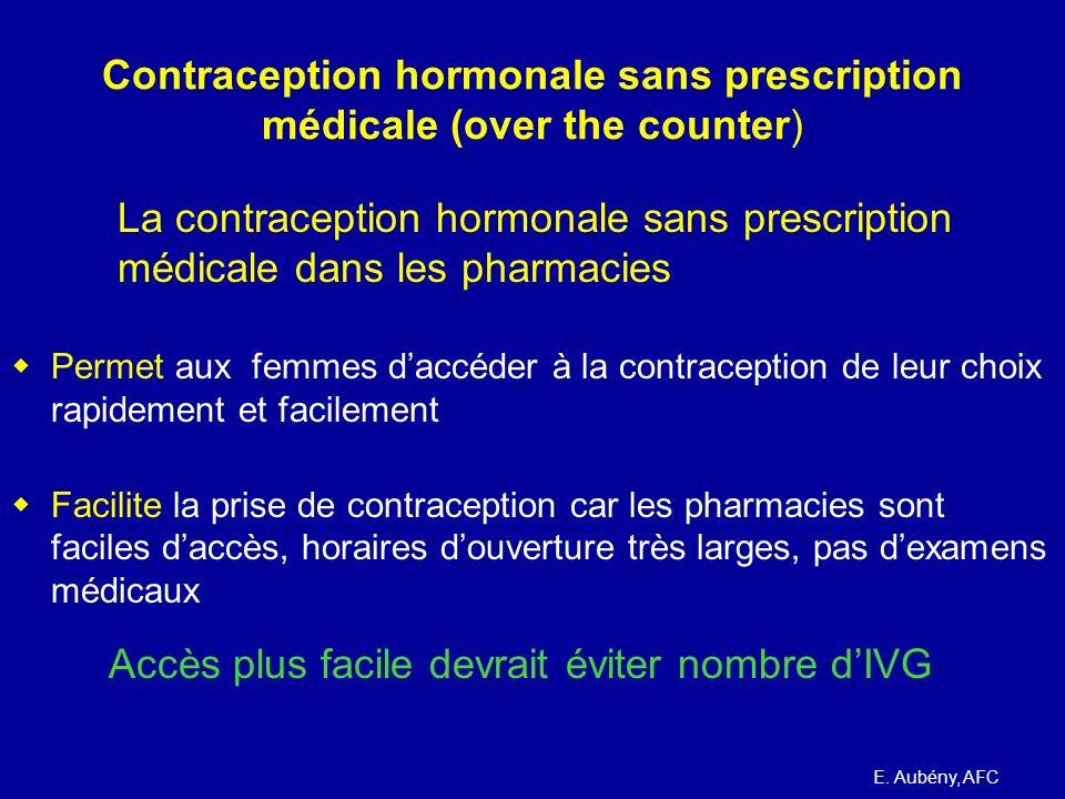 Contraception hormonale sans prescription médicale Exemples étrangers : US, UK E. Aubény, AFC