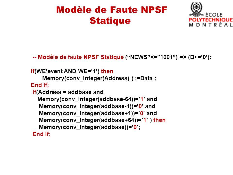 Modèle de Faute NPSF Statique -- Modèle de faute NPSF Statique (NEWS (B<=0): If(WEevent AND WE=1) then Memory(conv_integer(Address) ) :=Data ; End if; If(Address = addbase and Memory(conv_integer(addbase-64))=1 and Memory(conv_integer(addbase-1))=0 and Memory(conv_integer(addbase+1))=0 and Memory(conv_integer(addbase+64))=1 ) then Memory(conv_integer(addbase))=0; End if;
