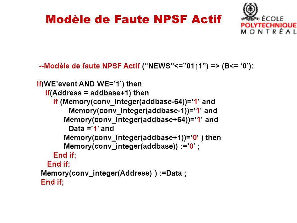 Modèle de Faute NPSF Actif --Modèle de faute NPSF Actif (NEWS (B<= 0): If(WEevent AND WE=1) then If(Address = addbase+1) then If (Memory(conv_integer(addbase-64))=1 and Memory(conv_integer(addbase-1))=1 and Memory(conv_integer(addbase+64))=1 and Data =1 and Memory(conv_integer(addbase+1))=0 ) then Memory(conv_integer(addbase)) :=0 ; End if; Memory(conv_integer(Address) ) :=Data ; End if;