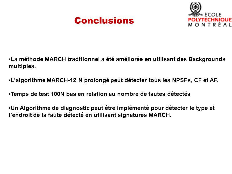 Conclusions La méthode MARCH traditionnel a été améliorée en utilisant des Backgrounds multiples.