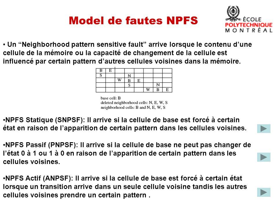 Model de fautes NPFS Un Neighborhood pattern sensitive fault arrive lorsque le contenu dune cellule de la mémoire ou la capacité de changement de la cellule est influencé par certain pattern dautres cellules voisines dans la mémoire.