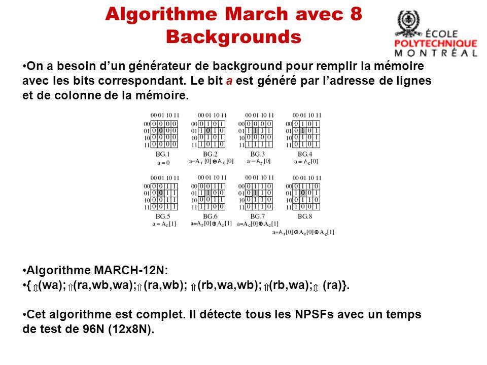 Algorithme March avec 8 Backgrounds On a besoin dun générateur de background pour remplir la mémoire avec les bits correspondant.