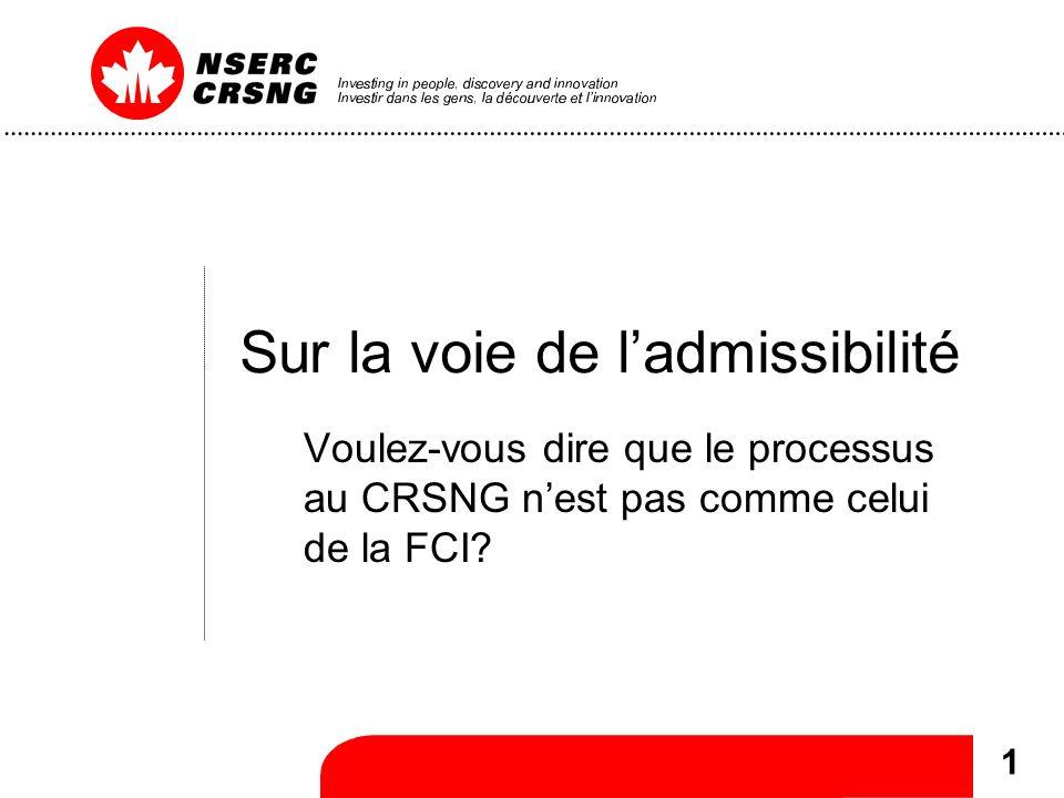 1 Sur la voie de ladmissibilité Voulez-vous dire que le processus au CRSNG nest pas comme celui de la FCI