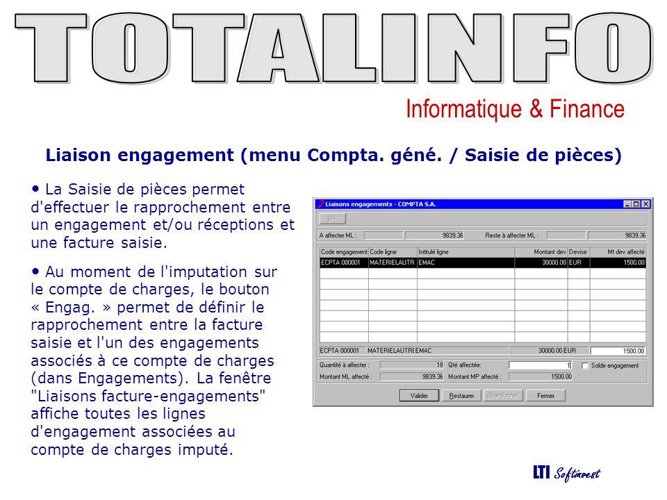 Informatique & Finance LTI Softinvest Liaison engagement (menu Compta.