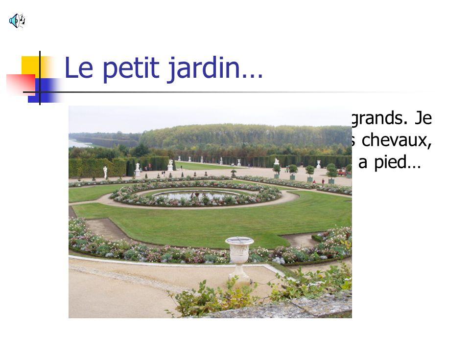 Le petit jardin… Les jardins sont extrêmement grands. Je crois que le roi devait aimer les chevaux, parce que traverser cet espace a pied…