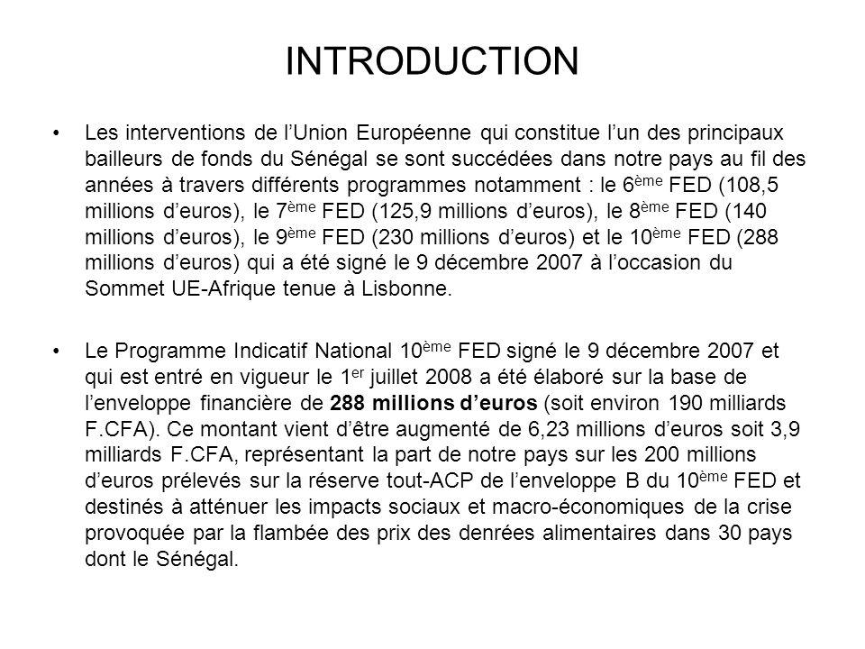 INTRODUCTION Les interventions de lUnion Européenne qui constitue lun des principaux bailleurs de fonds du Sénégal se sont succédées dans notre pays a