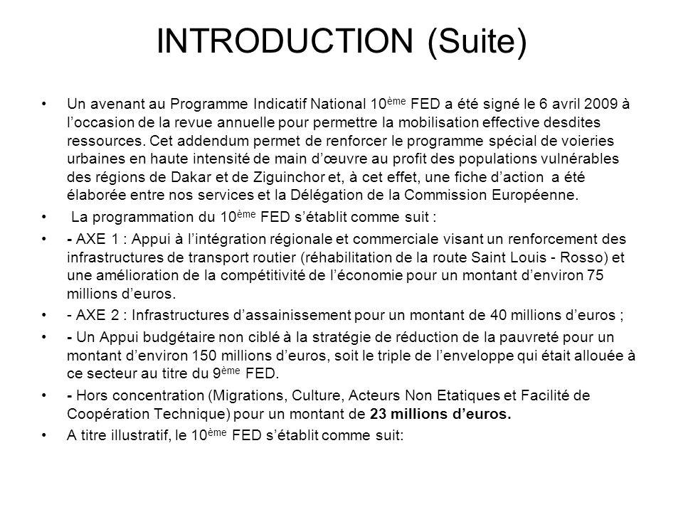 INTRODUCTION (Suite) Un avenant au Programme Indicatif National 10 ème FED a été signé le 6 avril 2009 à loccasion de la revue annuelle pour permettre