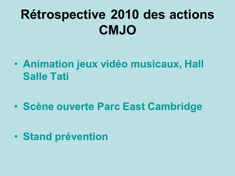 Rétrospective 2010 des actions CMJO Animation jeux vidéo musicaux, Hall Salle Tati Scène ouverte Parc East Cambridge Stand prévention