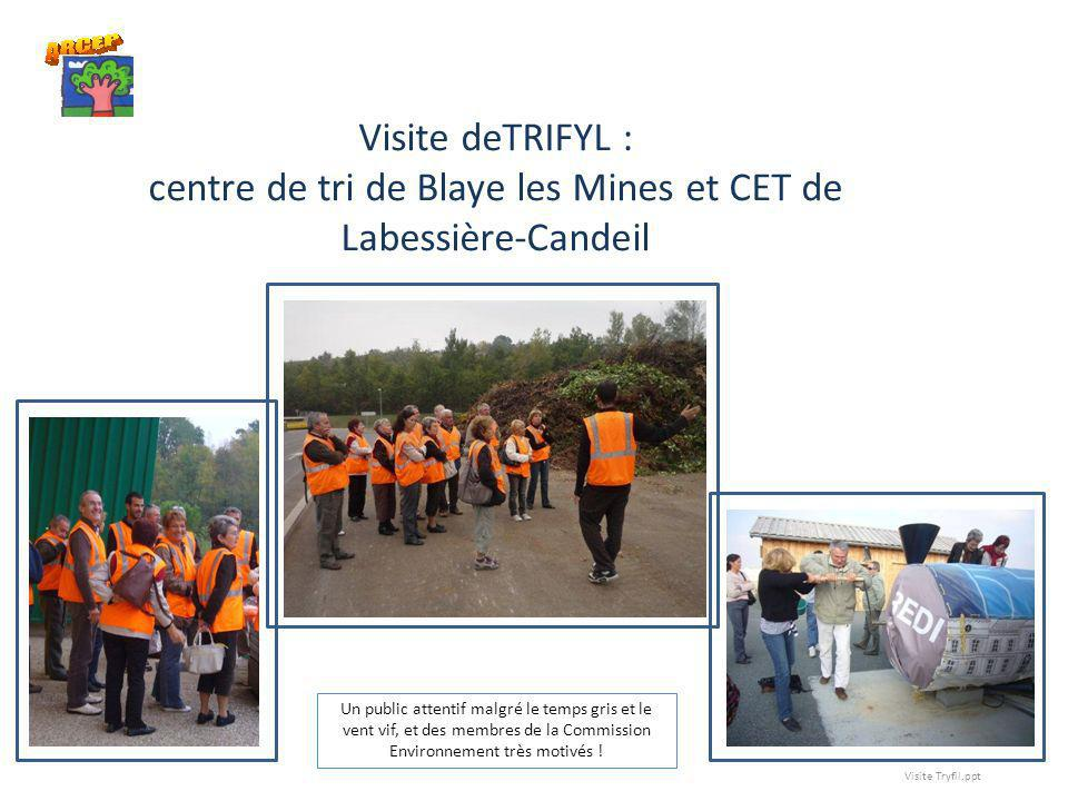 Visite deTRIFYL : centre de tri de Blaye les Mines et CET de Labessière-Candeil Un public attentif malgré le temps gris et le vent vif, et des membres