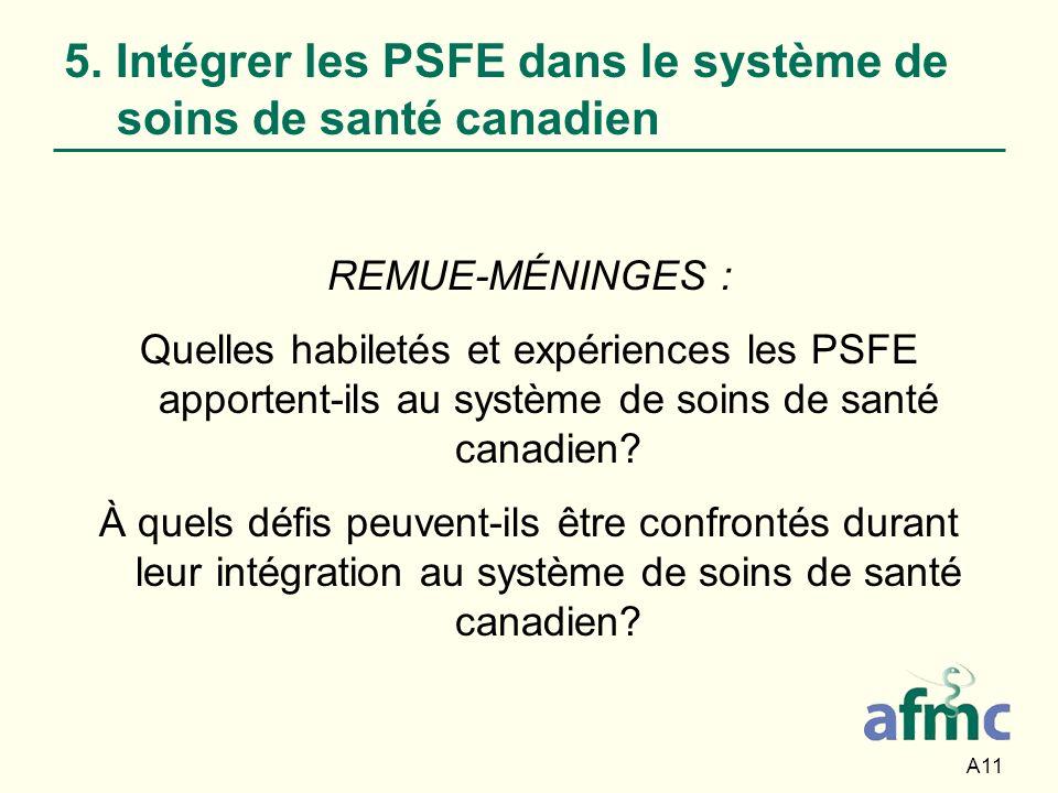 A11 5. Intégrer les PSFE dans le système de soins de santé canadien REMUE-MÉNINGES : Quelles habiletés et expériences les PSFE apportent-ils au systèm