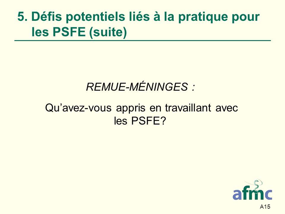 A15 5. Défis potentiels liés à la pratique pour les PSFE (suite) REMUE-MÉNINGES : Quavez-vous appris en travaillant avec les PSFE?