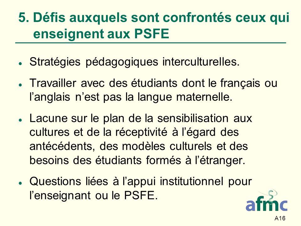 A16 5. Défis auxquels sont confrontés ceux qui enseignent aux PSFE Stratégies pédagogiques interculturelles. Travailler avec des étudiants dont le fra