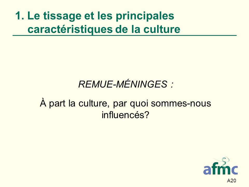 A20 REMUE-MÉNINGES : À part la culture, par quoi sommes-nous influencés? 1. Le tissage et les principales caractéristiques de la culture