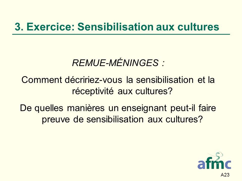 A23 3. Exercice: Sensibilisation aux cultures REMUE-MÉNINGES : Comment décririez-vous la sensibilisation et la réceptivité aux cultures? De quelles ma