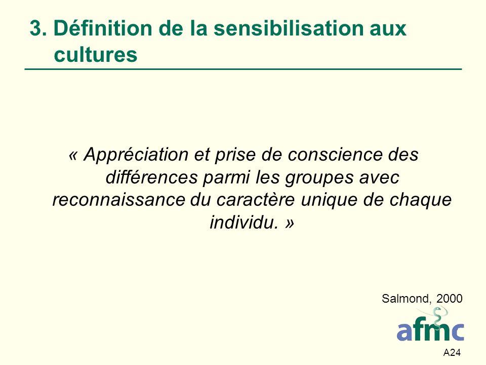 A24 3. Définition de la sensibilisation aux cultures « Appréciation et prise de conscience des différences parmi les groupes avec reconnaissance du ca