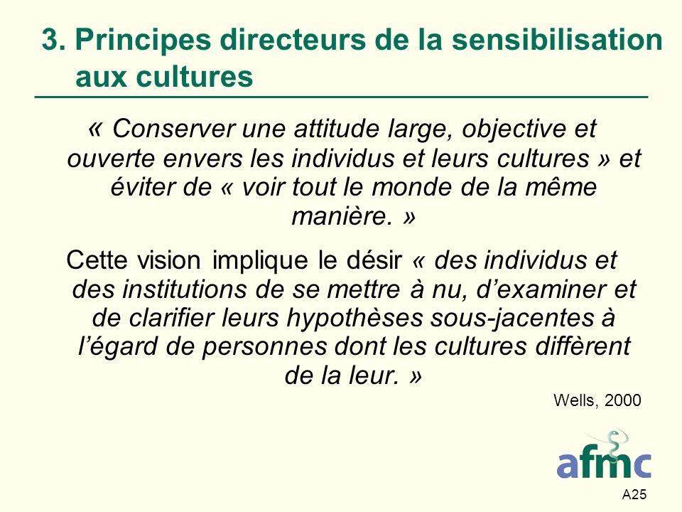 A25 3. Principes directeurs de la sensibilisation aux cultures « Conserver une attitude large, objective et ouverte envers les individus et leurs cult