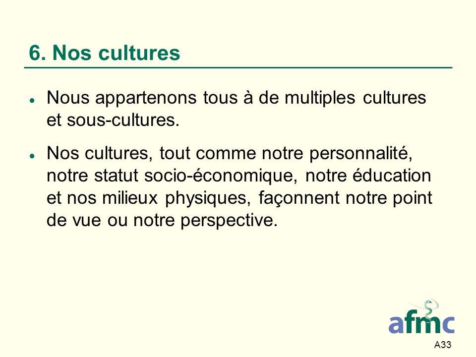 A33 6. Nos cultures Nous appartenons tous à de multiples cultures et sous-cultures. Nos cultures, tout comme notre personnalité, notre statut socio-éc